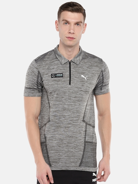 Puma Men Grey Printed MAPM evoKNIT Polo Collar T-shirt