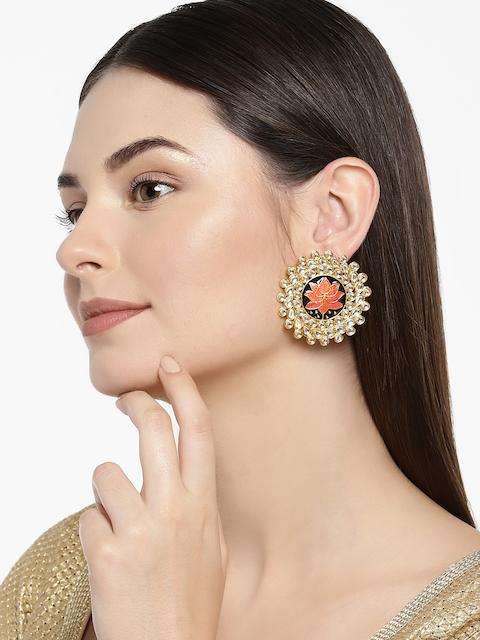 Zaveri Pearls Women Gold-Plated Lotus Kundan Stud Earrings