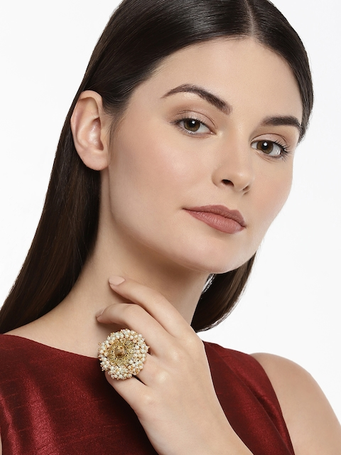 Zaveri Pearls Women Gold-Toned & White Embellished With Pearls Finger Ring