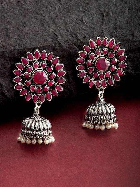 Rubans Silver-Toned & Red Classic Jhumkas