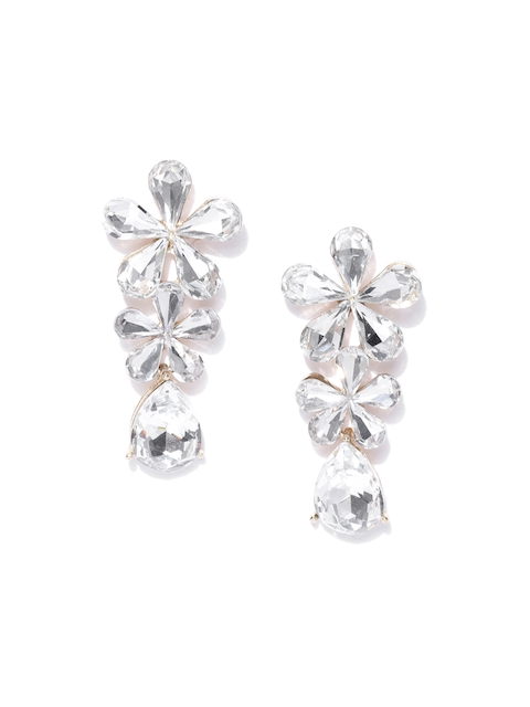YouBella Gold-Plated Stone-Studded Floral Drop Earrings