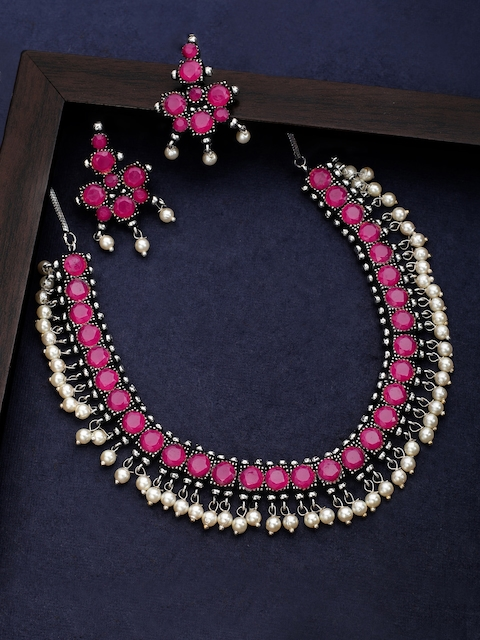 Rubans Oxidised Silver Toned Faux Ruby Studded Pearl Necklace Set