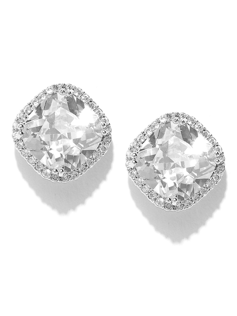 Priyaasi Silver-Plated Diamond Shaped Stone-Studded Handcrafted Studs