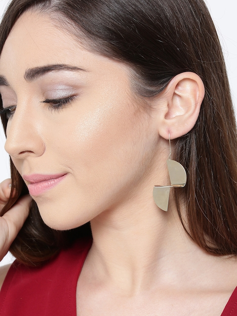 PRITA Gold-Plated Handcrafted Contemporary Drop Earrings