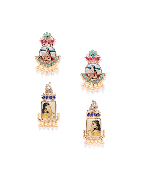 Zaveri Pearls Set of 2 Gold-Toned Contemporary Studs