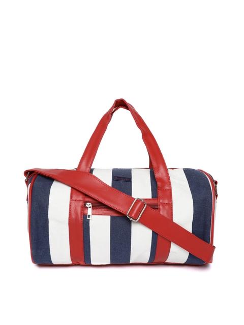 BAD HABIT Unisex Off-White & Navy Blue Striped Duffle Bag