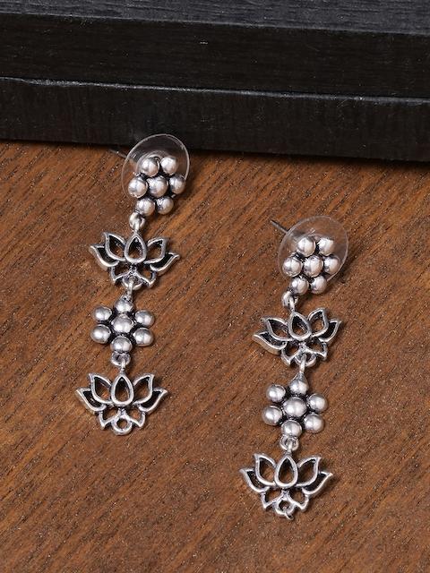 Voylla Silver-Plated Floral Drop Oxidised Earrings