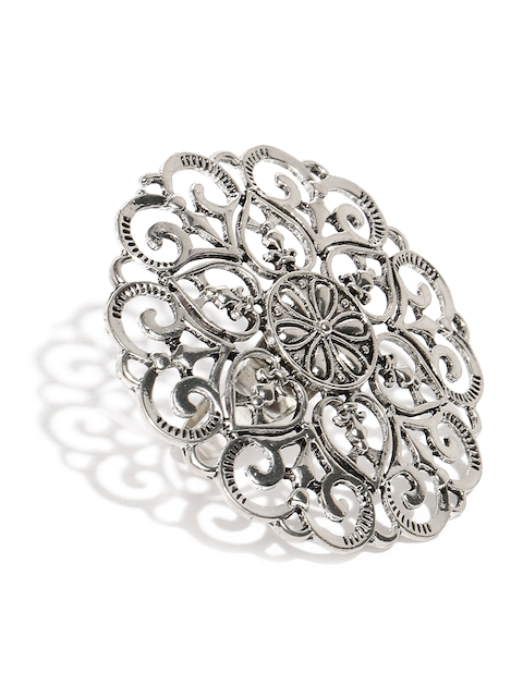 Zaveri Pearls Silver Tone Adjustable Finger Ring