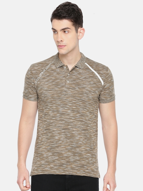 United Colors of Benetton Men Brown Solid Polo Collar T-shirt