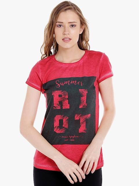 SPYKAR Women Red Printed Round Neck T-shirt