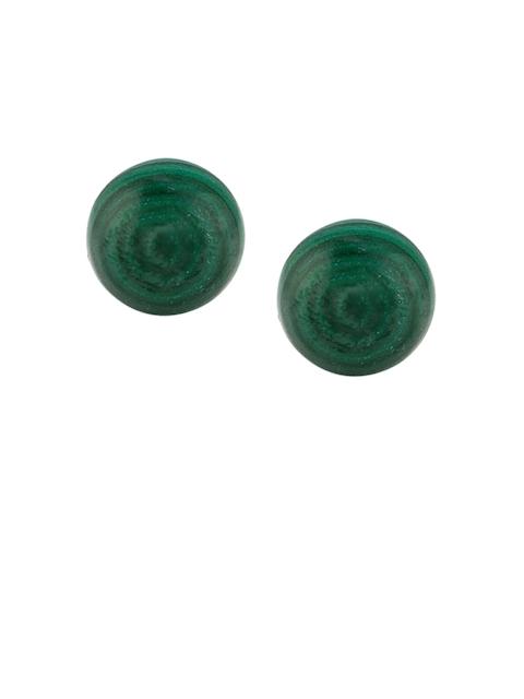 TALISMAN Gold-Plated Green Sterling Silver Circular Stud Earrings