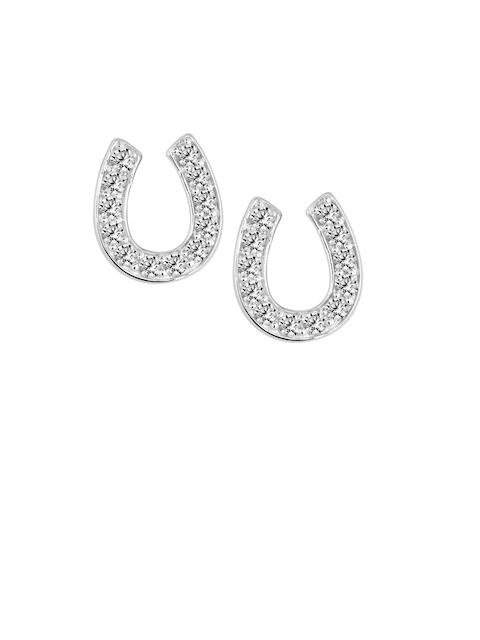 TALISMAN Rhodium-Plated Strerling Silver Horseshoe-Shaped CZ-Studded Stud Earrings