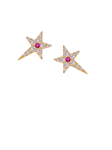 TALISMAN Gold-Plated & Pink Star Shaped Handcrafted Studs