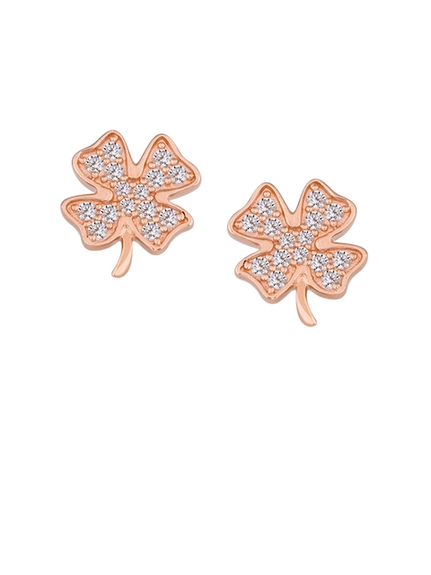 TALISMAN Silver-Toned & Rose Gold-Plated Handcrafted Cubic Zirconia Studded Floral Studs