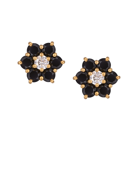 TALISMAN Gold-Plated & Black Floral Handcrafted Studs