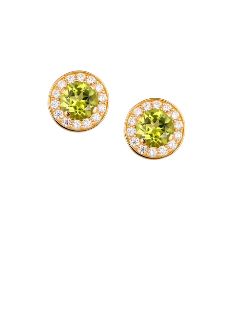 TALISMAN Gold-Plated & Green Circular Handcrafted Studs