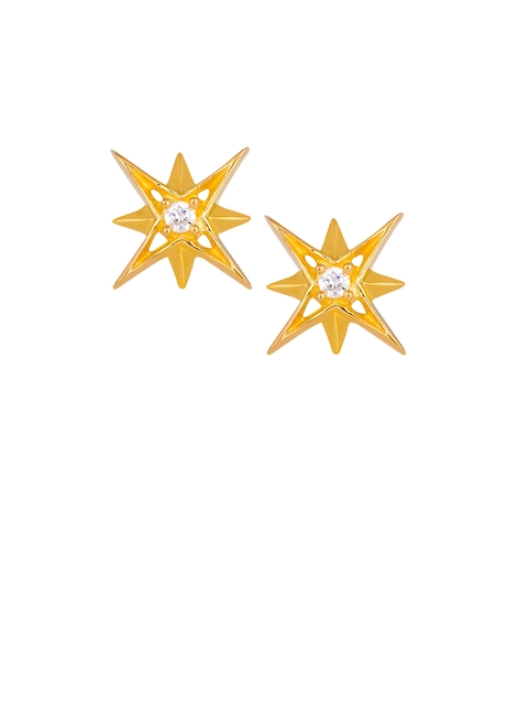 TALISMAN Gold-Plated White Handcrafted Star Shaped Studs