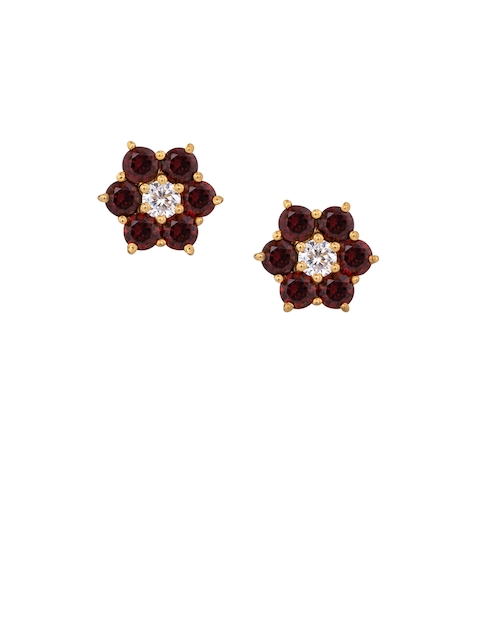 TALISMAN Gold-Plated Maroon Handcrafted Studs
