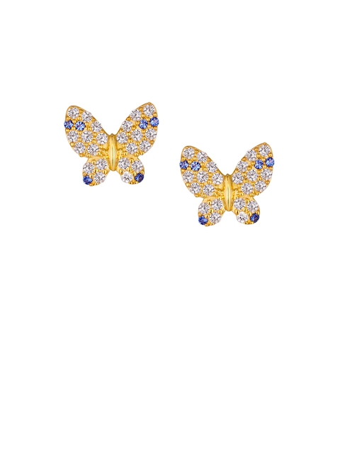 TALISMAN Gold-Plated Handcrafted Cubic Zirconia Studded Contemporary Studs