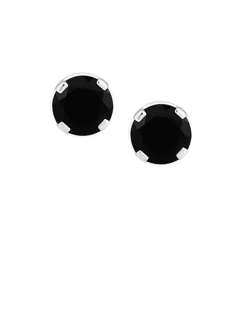 TALISMAN Silver-Toned & Black Sterling Silver Handcrafted Circular Studs