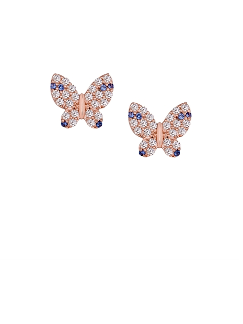 TALISMAN Rose Gold-Plated Sterling Silver CZ-Studded Quirky Stud Earrings