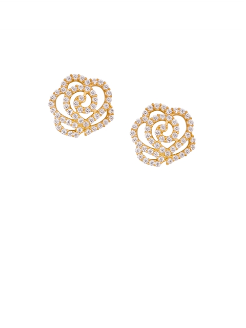 TALISMAN Gold-Plated & White Handcrafted Sterling Silver CZ Circular Studs