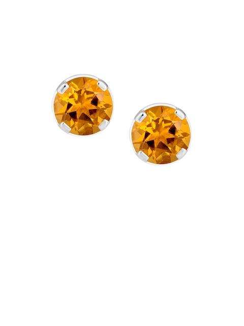 TALISMAN Orange & Silver-Toned Rhodium-Plated Handcrafted Circular Studs