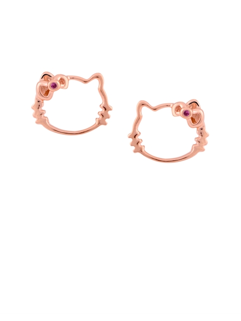 TALISMAN Pink Rose Gold-Plated Handcrafted Cubic Zirconia Studded Contemporary Studs