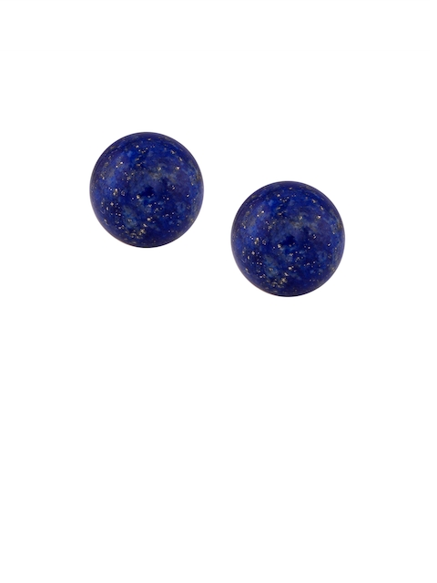 TALISMAN Gold-Plated Blue Sterling Silver Circular Embellished Stud Earrings