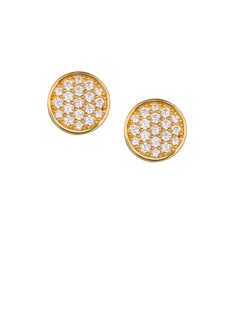 TALISMAN Gold-Plated White Handcrafted Circular Studs