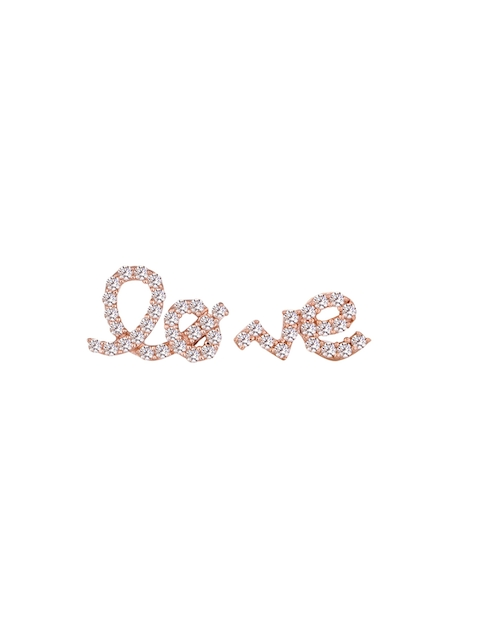 TALISMAN Rose Gold-Plated Sterling Silver CZ-Studded Quirky Mismatch Stud Earrings