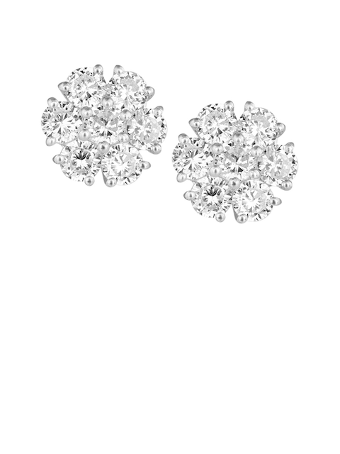 TALISMAN Rhodium-Plated White Handcrafted Circular Studs