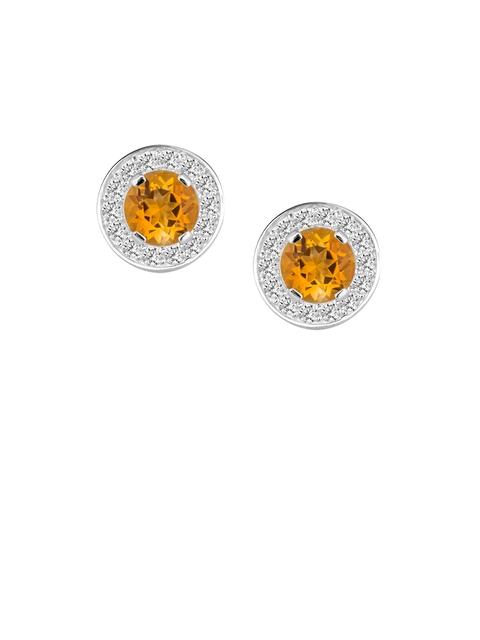 TALISMAN Silver-Toned Rhodium-Plated Handrafted Cubic Zirconia Studded Circular Studs