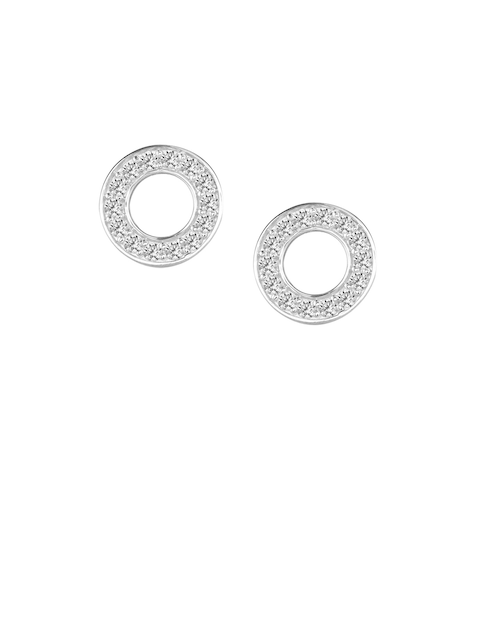 TALISMAN Silver-Plated Handcrafted Sterling Silver CZ Circular Studs