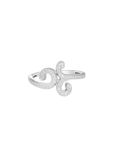 TALISMAN Women Rhodium-Plated Silver-Toned Cubic Zirconia-Studded Handcrafted Ring