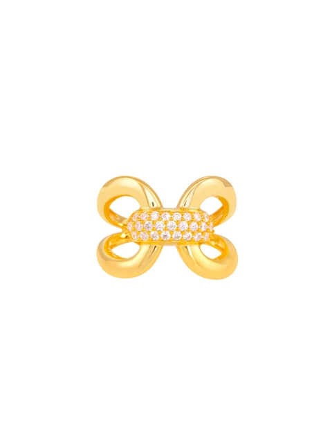 TALISMAN Women Gold-Plated Cubic Zirconia-Studded Handcrafted Ring