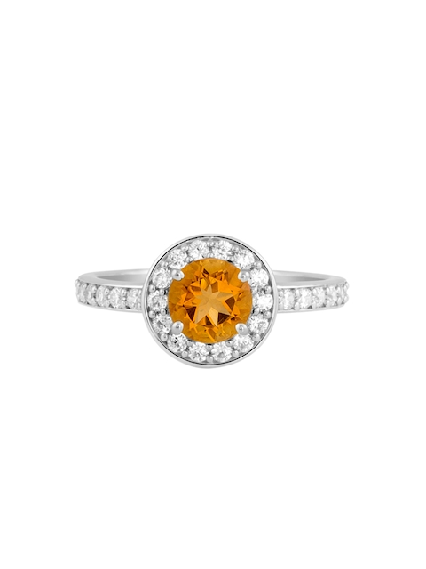 TALISMAN Women Rhodium-Plated Handcrafted 925 Sterling Silver Cubic Zirconia-Studded Ring