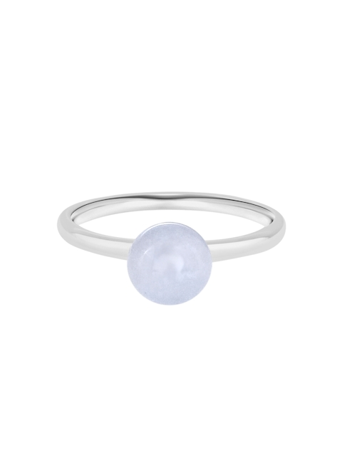 TALISMAN Women Rhodium-Plated Silver-Toned Stone-Studded Handcrafted Ring