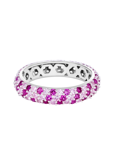 TALISMAN Women Rhodium-Plated Silver-Toned & Pruple CZ-Studded Handcrafted Ring