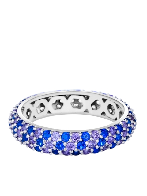 TALISMAN Women Rhodium-Plated Silver Toned & Blue Cubic Zirconia-Studded Handcrafted Ring