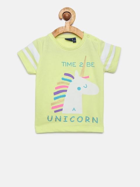Juniors by Lifestyle Girls Yellow Printed Round Neck T-shirt
