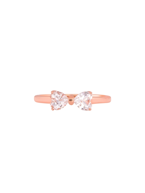 TALISMAN Rose Gold-Plated With Embedded White CZ Stones Bow Tie-Shaped Handcrafted Ring