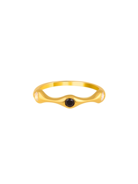 TALISMAN Handcrafted Gold -Plated and Black Cubic Zirconia Studded Finger Ring