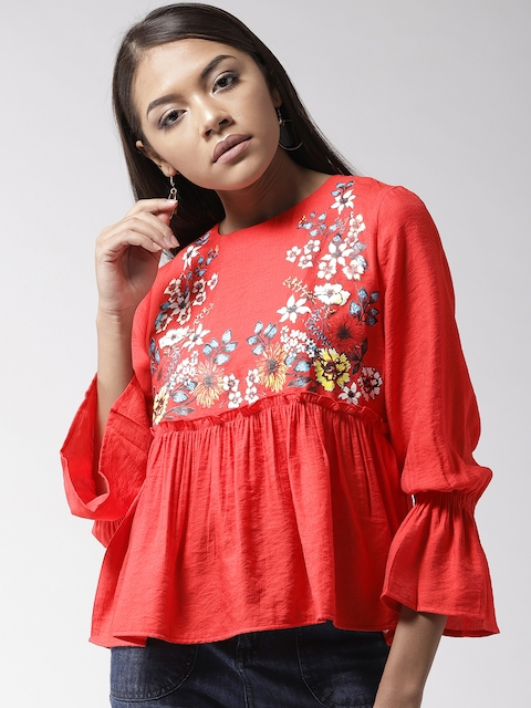 Madame Women Red Printed A-Line Top