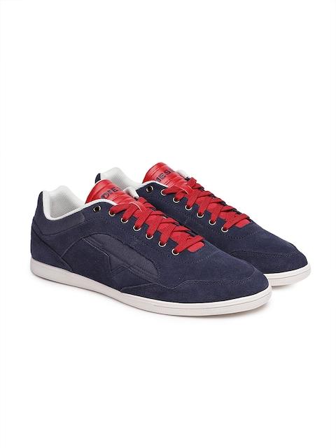 DIESEL Men Navy Blue Leather Sneakers