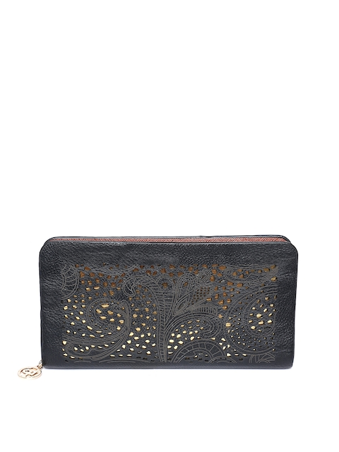 Lino Perros Women Black Zip Around Wallet with Cut Work