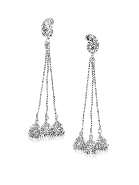 Anouk Oxidised Silver-Plated Textured Dome Shaped Drop Earrings