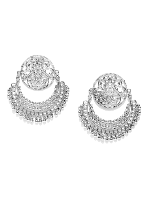 Anouk Oxidised Silver-Plated Crescent Shaped Textured Chandbalis