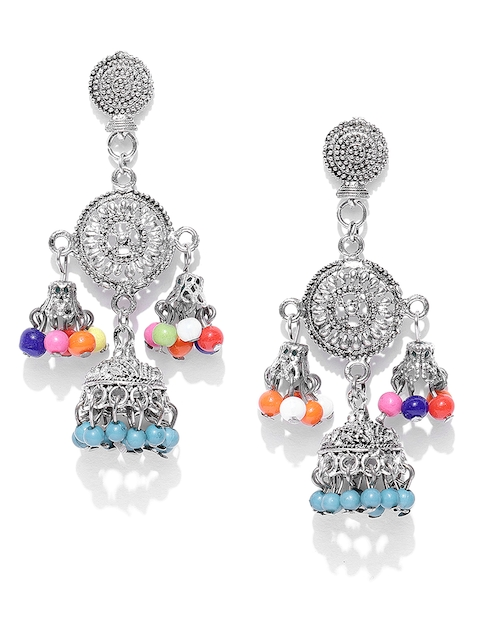 Anouk Blue Oxidised Silver-Plated Dome Shaped Drop Earrings