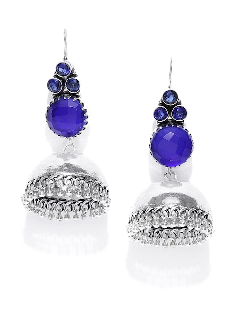 Anouk Blue Oxidised Silver-Plated Stone-Studded Dome Shaped Jhumkas